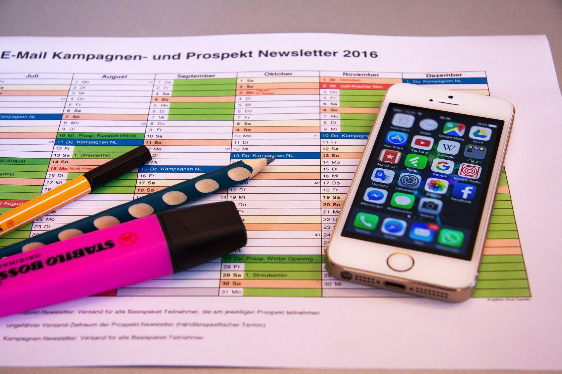 cronograma e celular